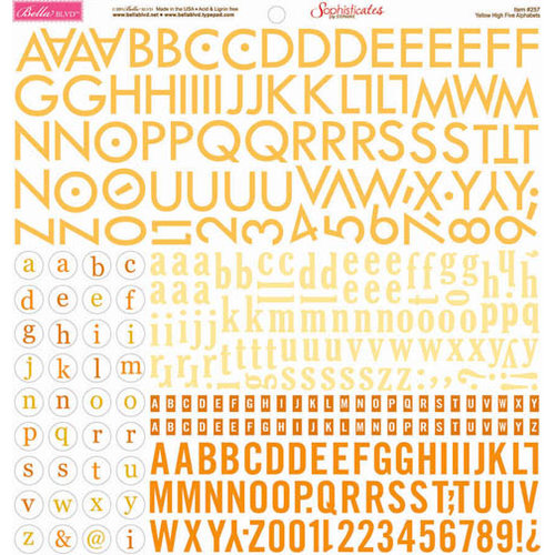 Bella Blvd - Sophisticates Collection - 12 x 12 Cardstock Stickers - Alphabet - Yellow