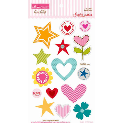Bella Blvd - Sophisticates Collection - Ciao  Chip - Self Adhesive Chipboard - Stars and Hearts