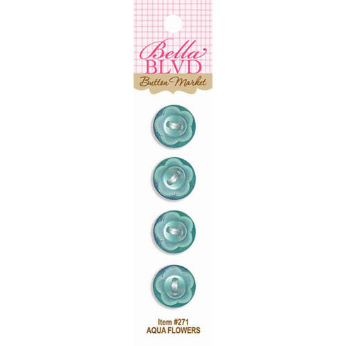 Bella Blvd - Buttons - Aqua Flowers