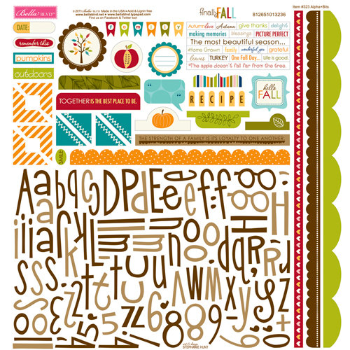 Bella Blvd - Finally Fall Collection - 12 x 12 Cardstock Stickers - Alphabet and Bits