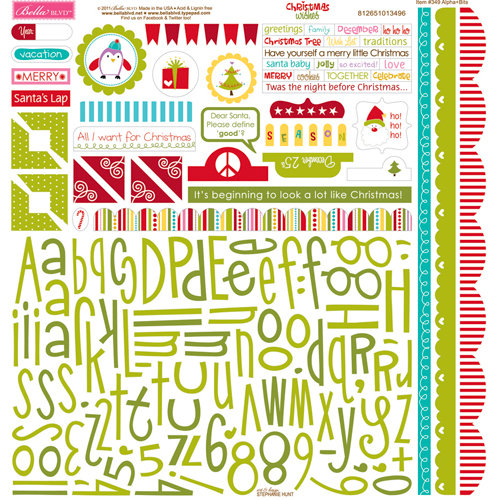Bella Blvd - Christmas Wishes Collection - 12 x 12 Cardstock Stickers - Alphabet and Bits