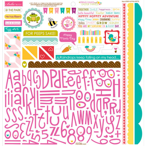 Bella Blvd - Spring Flings and Easter Things Collection - 12 x 12 Cardstock Stickers - Alphabet and Bits