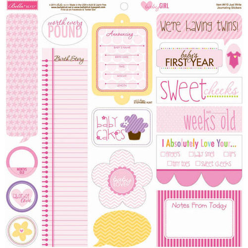 Bella Blvd - Baby Girl Collection - 12 x 12 Cardstock Stickers - Just Write