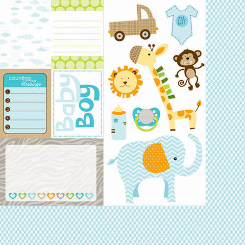 Bella Blvd - Baby Boy Collection - 12 x 12 Double Sided Paper - Cute Cuts