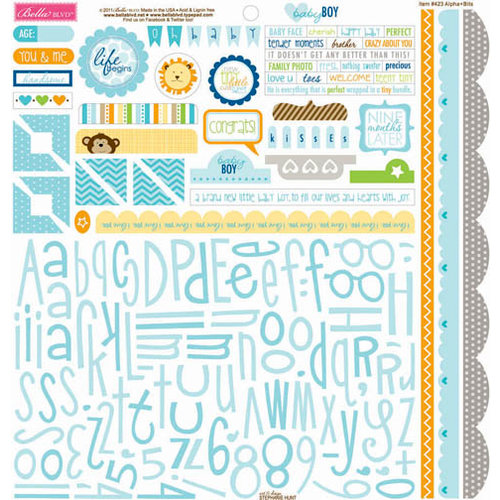 Bella Blvd - Baby Boy Collection - 12 x 12 Cardstock Stickers - Alphabet and Bits