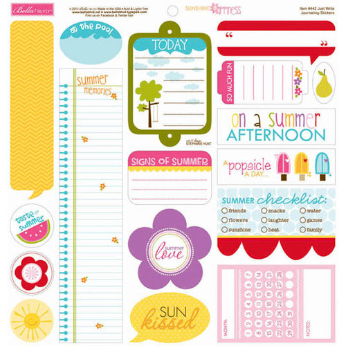 Bella Blvd - Sunshine and Happiness Collection - 12 x 12 Cardstock Stickers - Just Write