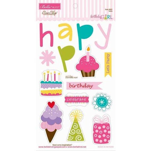 Bella Blvd - Birthday Girl Collection - Ciao Chip - Self Adhesive Chipboard - Icons