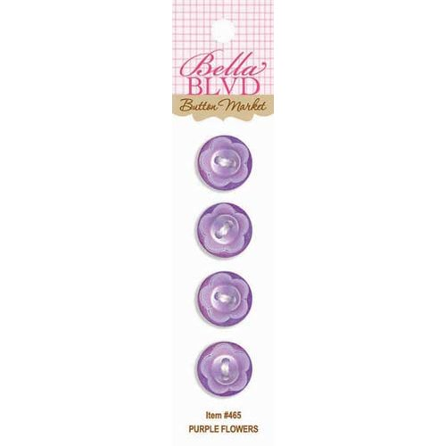 Bella Blvd - Birthday Girl Collection - Buttons - Purple Flowers