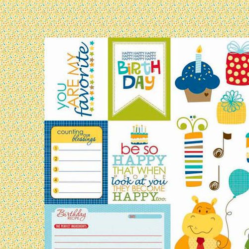 Bella Blvd - Birthday Boy Collection - 12 x 12 Double Sided Paper - Cute Cuts