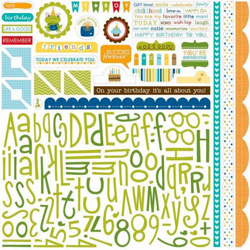 Bella Blvd - Birthday Boy Collection - 12 x 12 Cardstock Stickers - Alphabet and Bits