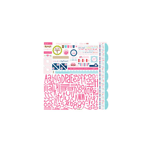 Bella Blvd - Kiss Me Collection - 12 x 12 Cardstock Stickers - Alphabet and Bits Stickers