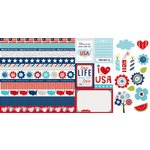 Bella Blvd - All American Collection - 12 x 12 Double Sided Paper - Borders and Cute Cuts