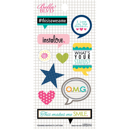 Bella Blvd - Snapshots Collection - Cardstock Stickers - Captions
