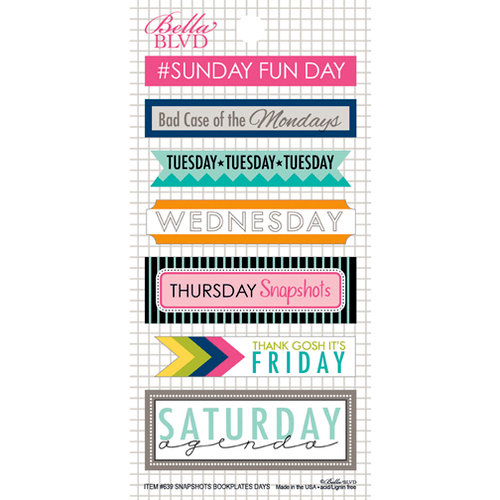 Bella Blvd - Snapshots Collection - Cardstock Stickers - Bookplates - Days