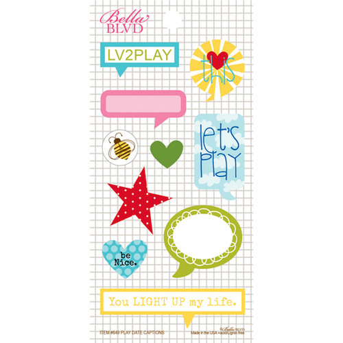 Bella Blvd - Play Date Collection - Cardstock Stickers - Captions
