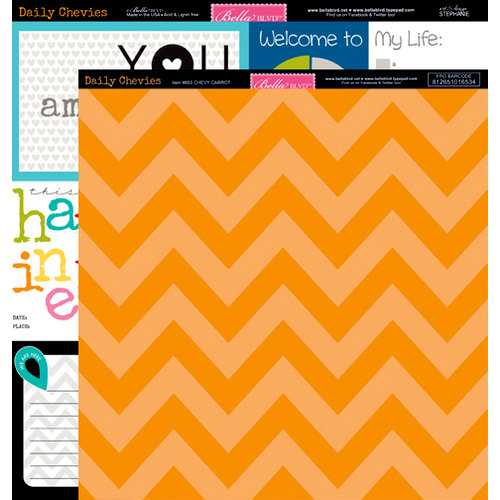 Bella Blvd - Daily Chevies and Everyday Bits Collection - 12 x 12 Double Sided Paper - Chevy - Carrot