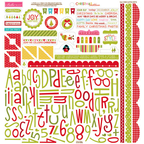 Bella Blvd - Christmas Countdown Collection - 12 x 12 Cardstock Stickers - Alphabet and Bits