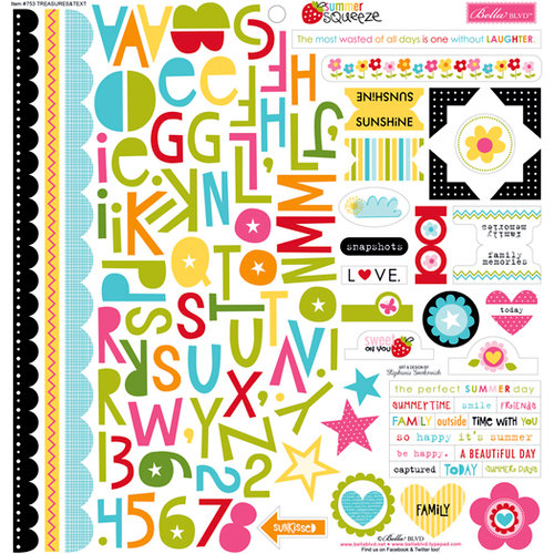 Bella Blvd - Summer Squeeze Collection - 12 x 12 Cardstock Stickers - Treasures and Text