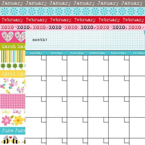 Bella Blvd - Classic Calendars Collection - 12 x 12 Double Sided Paper - Ice Calendar and Borders One