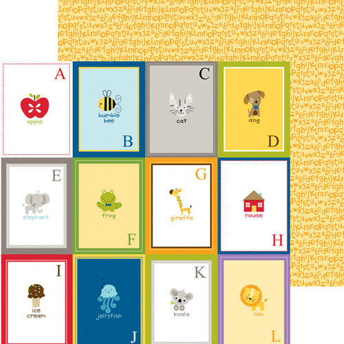 Bella Blvd - Tiny Tots Collection - 12 x 12 Double Sided Paper - Flashcards A-L