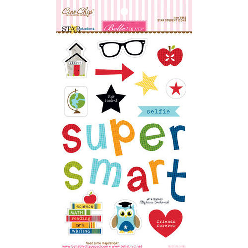 Bella Blvd - Star Student Collection - Ciao Chip - Self Adhesive Chipboard - Icons