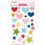 Bella Blvd - Color Chaos Collection - Ciao Chip - Self Adhesive Chipboard - Hearts and Stars