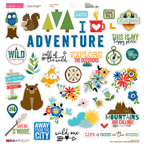 Bella Blvd - Let's Go On An Adventure Collection - Chipboard Stickers - Icons