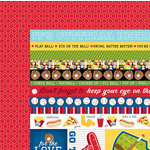 Bella Blvd - Baseball Collection - 12 x 12 Double Sided Paper - Borders and Details