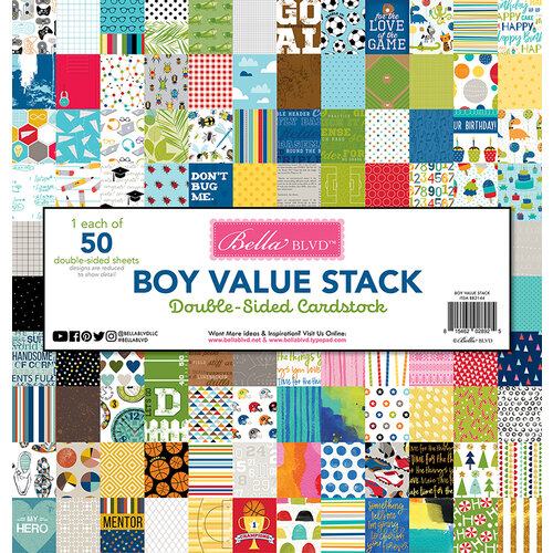 Bella Blvd - Boy Collection - 12 x 12 Double Sided Paper - Value Stack