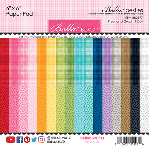 Bella Blvd - Bella Besties Collection - 6 x 6 Paper Pad - Graph and Dot Rainbow