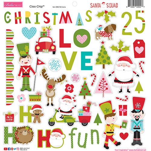 Bella Blvd - Santa Squad Collection - 12 x 12 Chipboard Icons Stickers