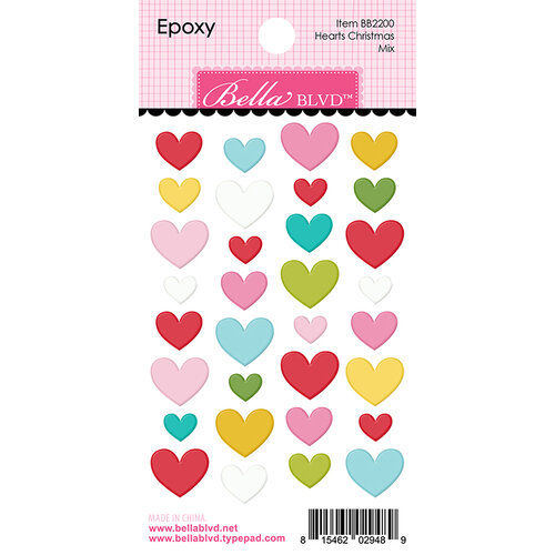 Bella Blvd - Santa Squad Collection - Epoxy Stickers - Hearts Christmas Mix