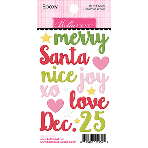 Bella Blvd - Santa Squad Collection - Epoxy Stickers - Christmas Words