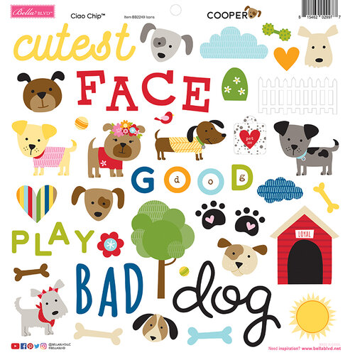 Bella Blvd - Cooper Collection - Stickers - 12 x 12 Chipboard Icons