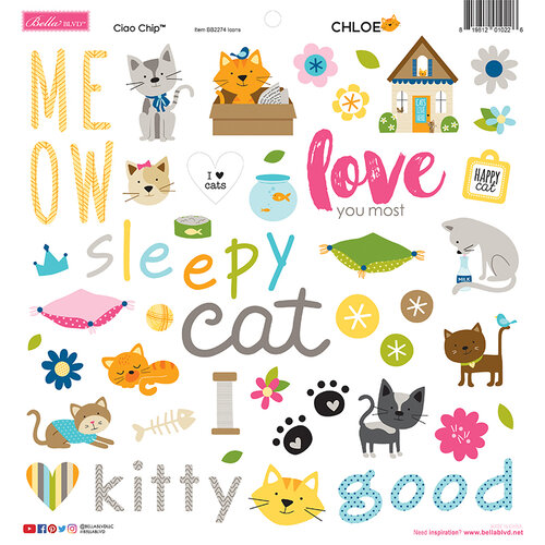Bella Blvd - Chloe Collection - Stickers - 12 x 12 Chipboard Icons