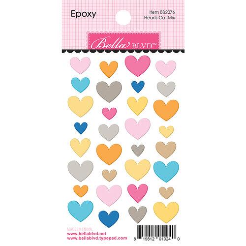 Bella Blvd - Chloe Collection - Epoxy Stickers - Hearts Cat Mix