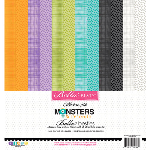 Bella Blvd - Monsters and Friends Collection - Besties - 12 x 12 Paper Pack