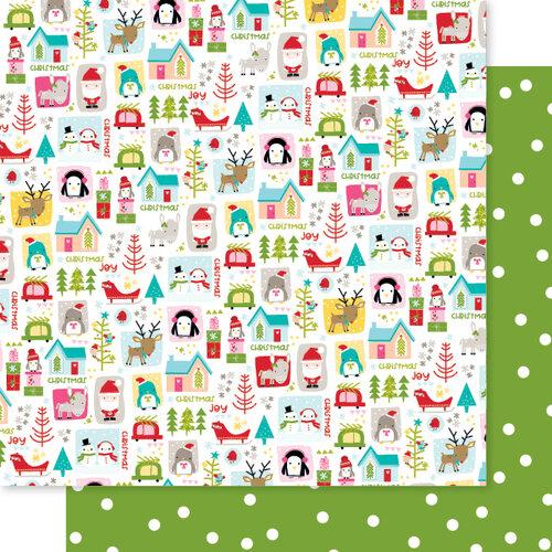 Bella Blvd - Fa La La Collection - 12 x 12 Double Sided Paper - Christmas Quilt