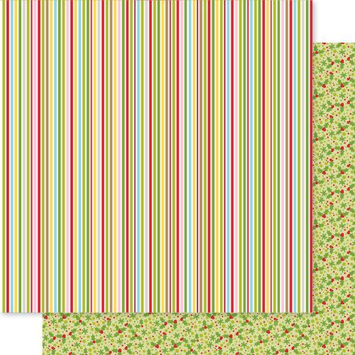 Bella Blvd - Fa La La Collection - 12 x 12 Double Sided Paper - Candy Striper