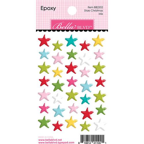 Bella Blvd - Fa La La Collection - Epoxy Stickers - Stars Christmas Mix