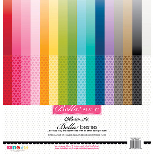 Bella Blvd - Besties Collection - 12 x 12 Collection Kit - Hearts & Ombre Rainbow