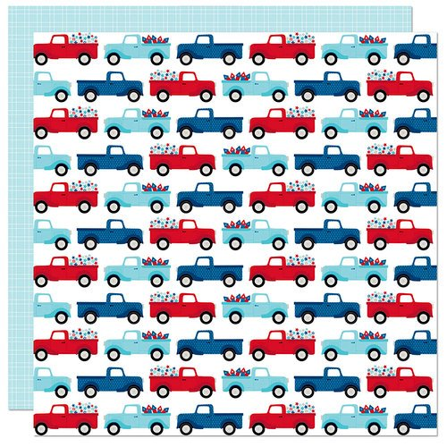 Bella Blvd - Fireworks and Freedom Collection - 12 x 12 Double Sided Paper - Truck Parade