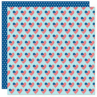 Bella Blvd - Fireworks and Freedom Collection - 12 x 12 Double Sided Paper - Love the USA