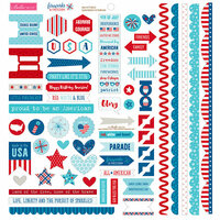 Bella Blvd - Fireworks and Freedom Collection - Doohickey - Cardstock Stickers