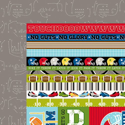 Bella Blvd - Football Collection - 12 x 12 Double Sided Paper - Borders and Details