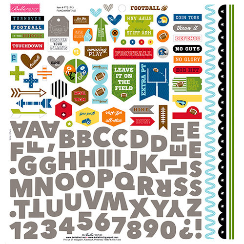 Bella Blvd - Football Collection - 12 x 12 Cardstock Stickers - Fundamentals