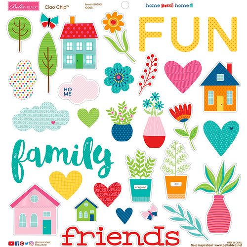 Multi Doodlebug HSH2054 Bella BLVD Chipboard Stickers 12X12 Sweet Home