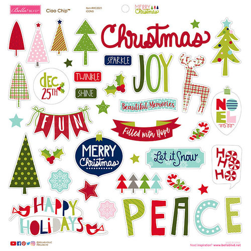Bella Blvd - Merry Christmas Collection - Ciao Chip - Self Adhesive Chipboard - Icons