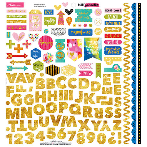 Bella Blvd - Make Your Mark Collection - 12 x 12 Cardstock Stickers - Fundamentals