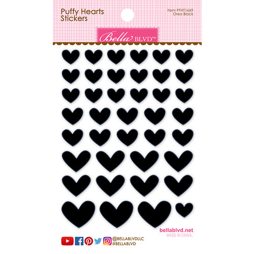Bella Blvd - Puffy Stickers - Hearts - Oreo Black